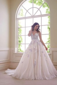 Ball gown wedding dress with embellishment