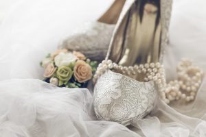 Arranged bridal shoes and accessories